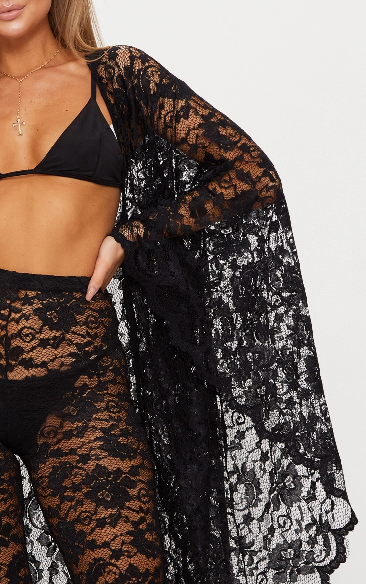 Black Lace Scalloped Wide Sleeve Beach Kimono 5