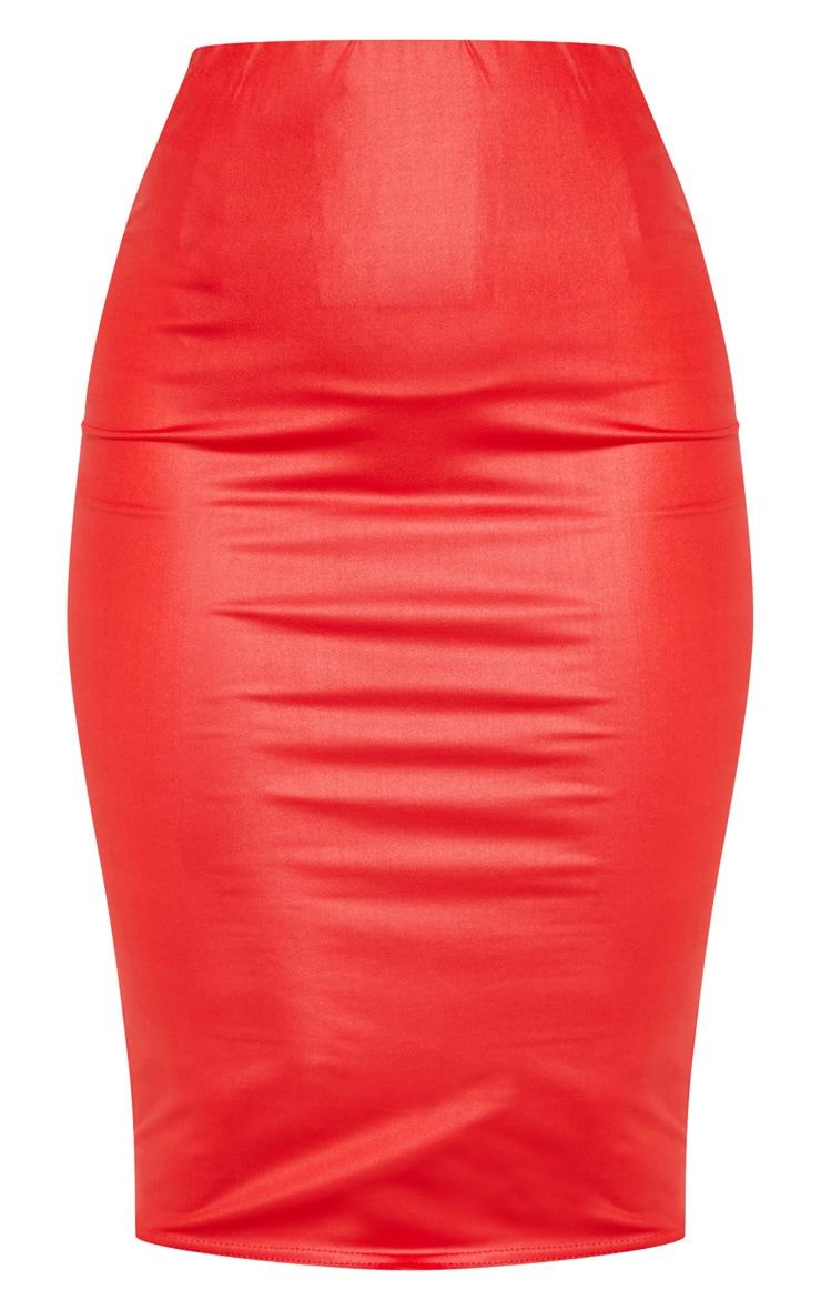 Red Wet Look Midi Skirt 3