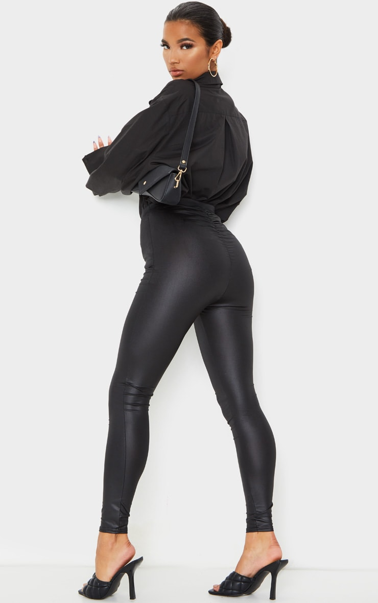Black Ruched Bum Coated Leggings 1