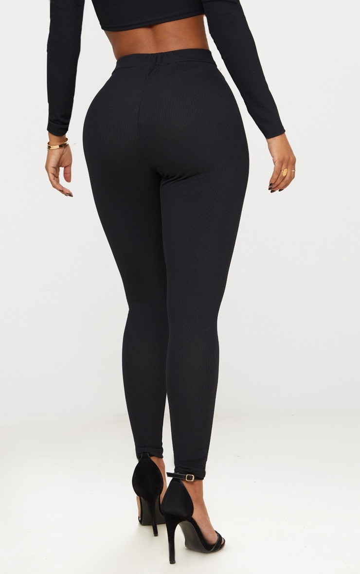 Shape Black Ribbed High Waist Leggings 4