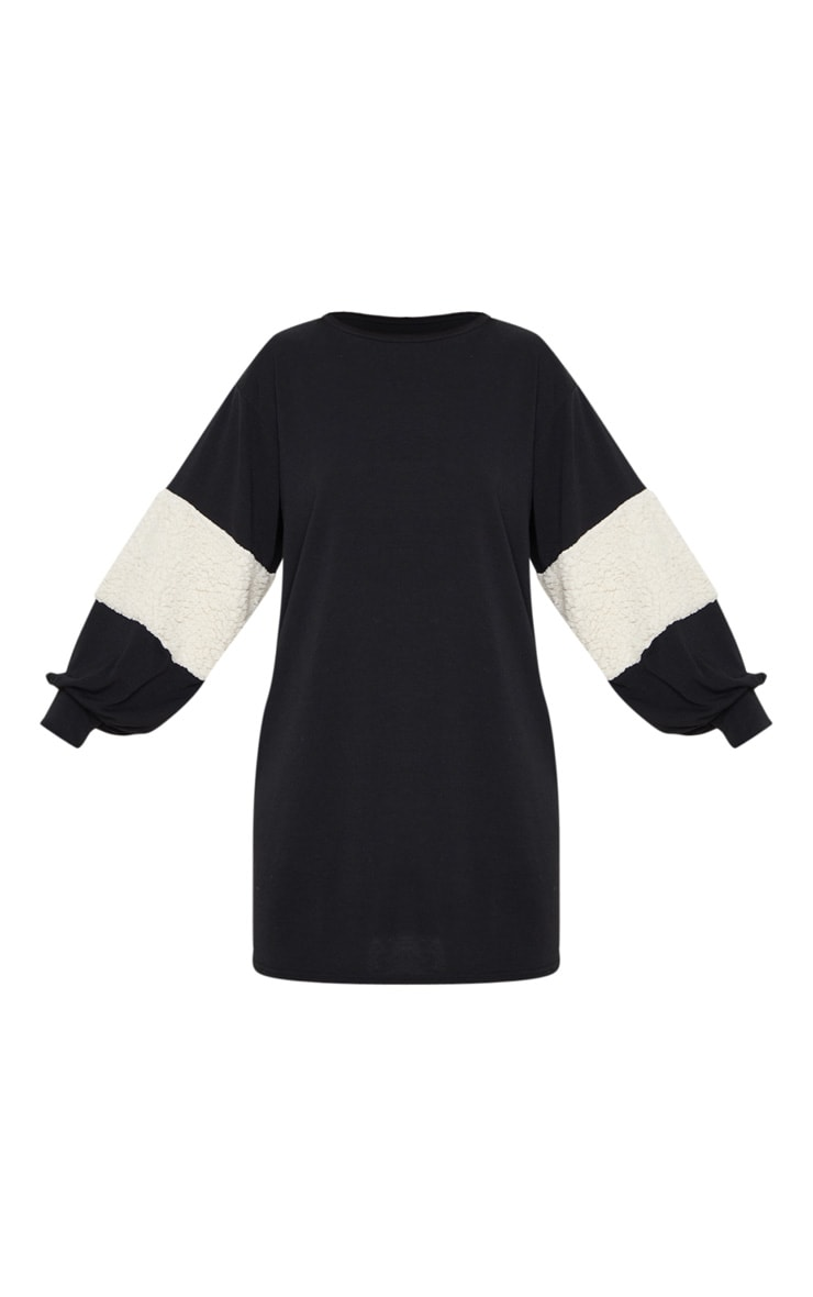 Black Borg Panel Oversized Sweat Jumper Dress 3