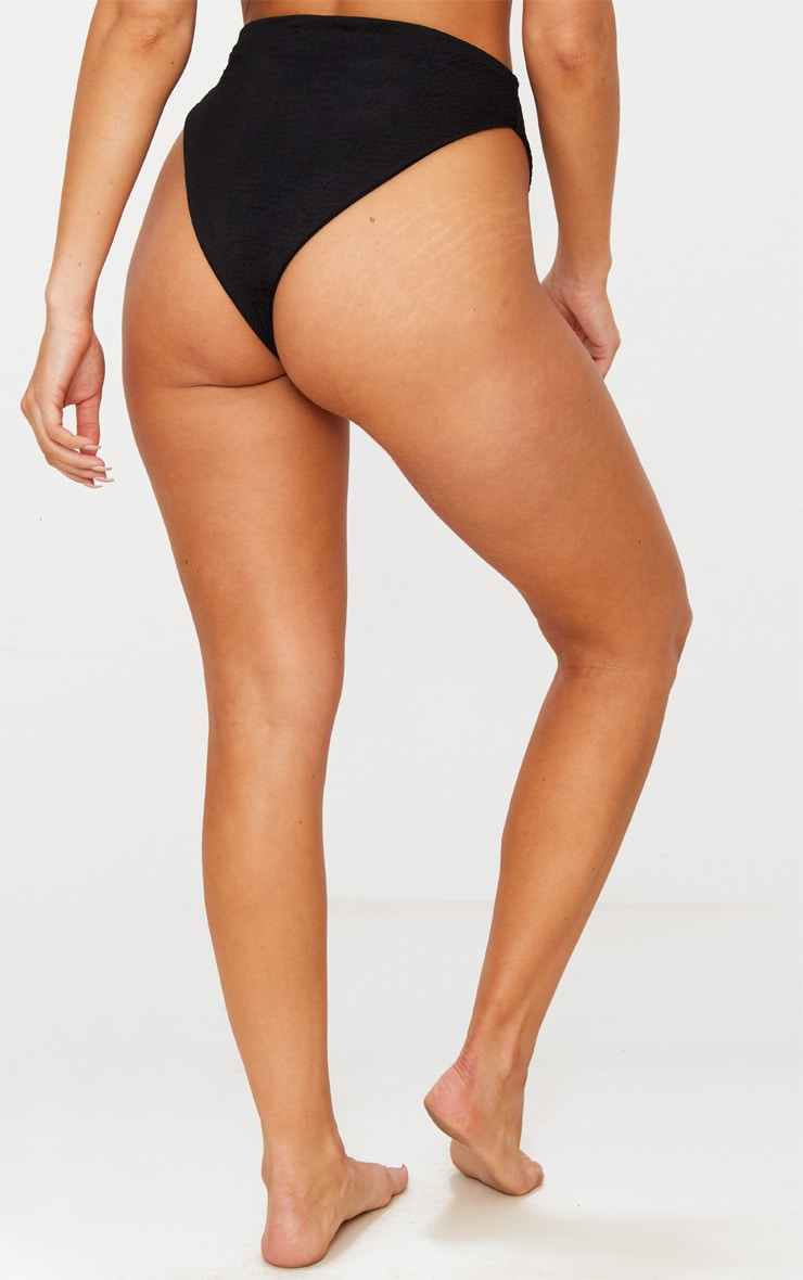 Black Crinkle High Waisted High Leg Bikini Bottom 4