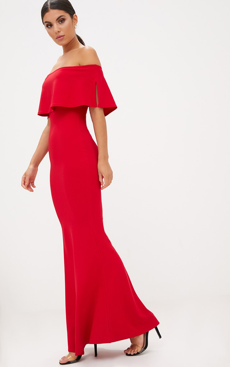 Red Bardot Frill Fishtail Maxi Dress 4