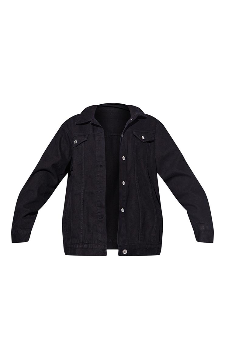 Recycled Black Basic Oversized Boyfriend Denim Jacket 5