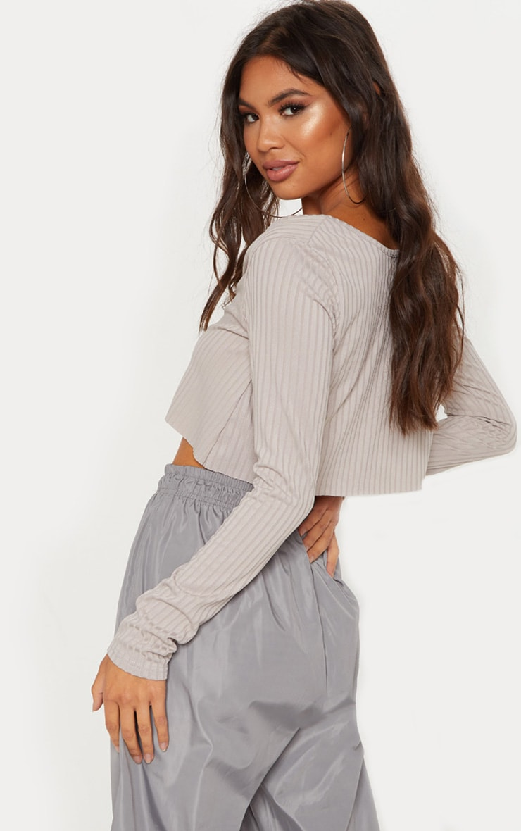Grey Marl Long Sleeve Rib Raw V Crop Top 2