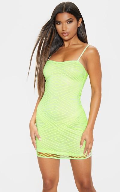 Lime Glitter Diamond Square Neck Bodycon Dress