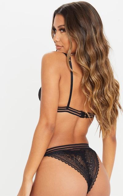 Black Harness Strap Lace Bra And Knicker Set