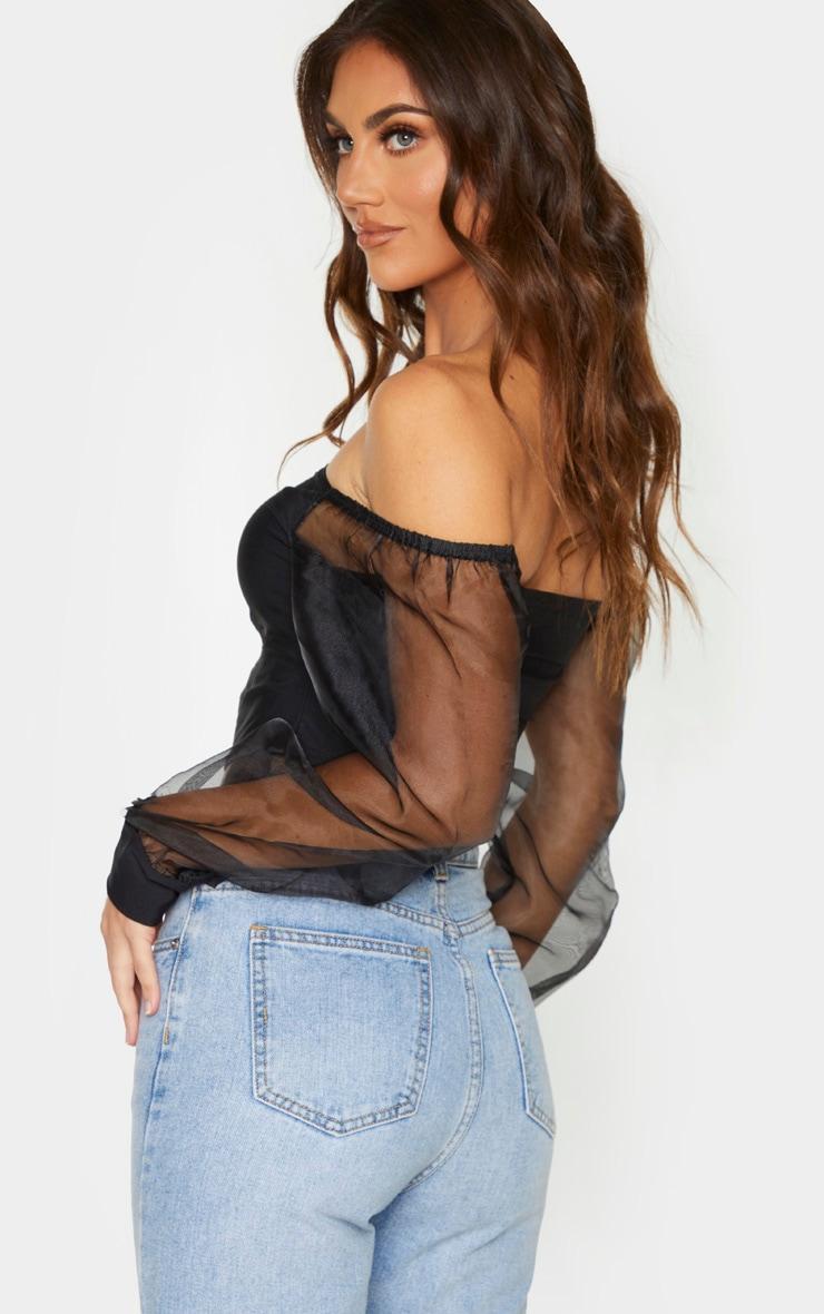 Black Slinky Sheer Organza Puff Sleeve Bardot Crop Top 2