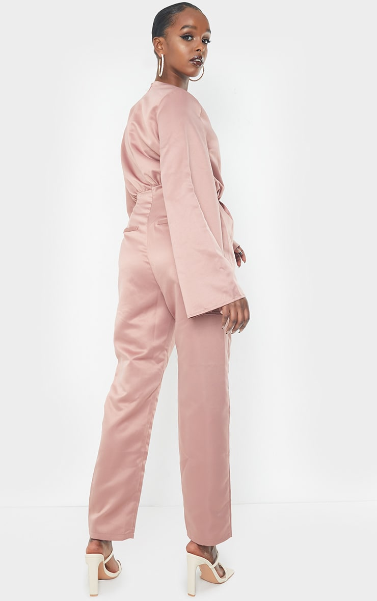 Blush Satin Flare Sleeve Wide Leg Jumpsuit 2