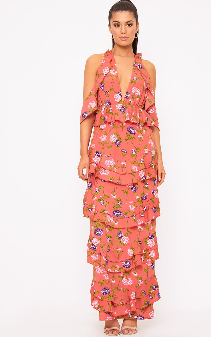 Coral Floral Cold Shoulder Frill Maxi Dress 1