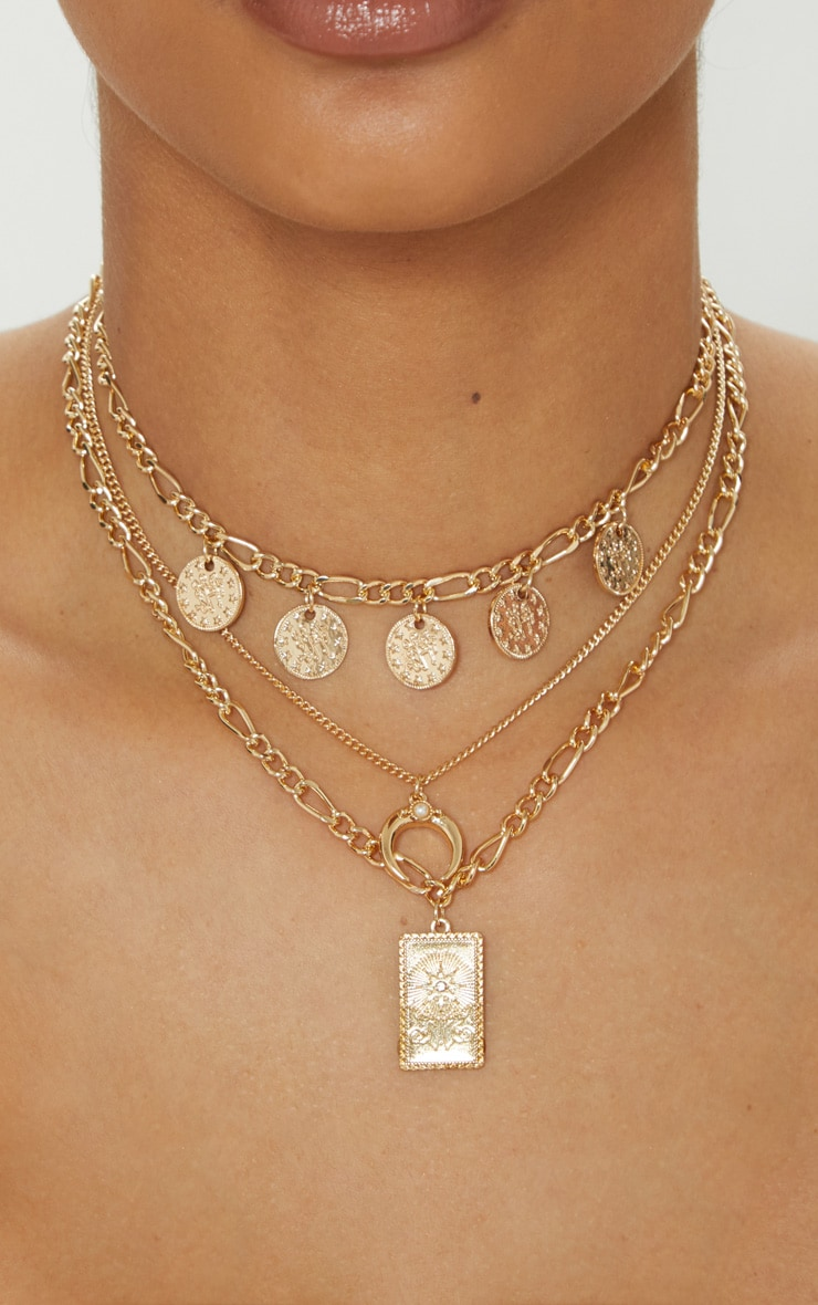 Gold Multi Layer And Disc Charms Necklace 2