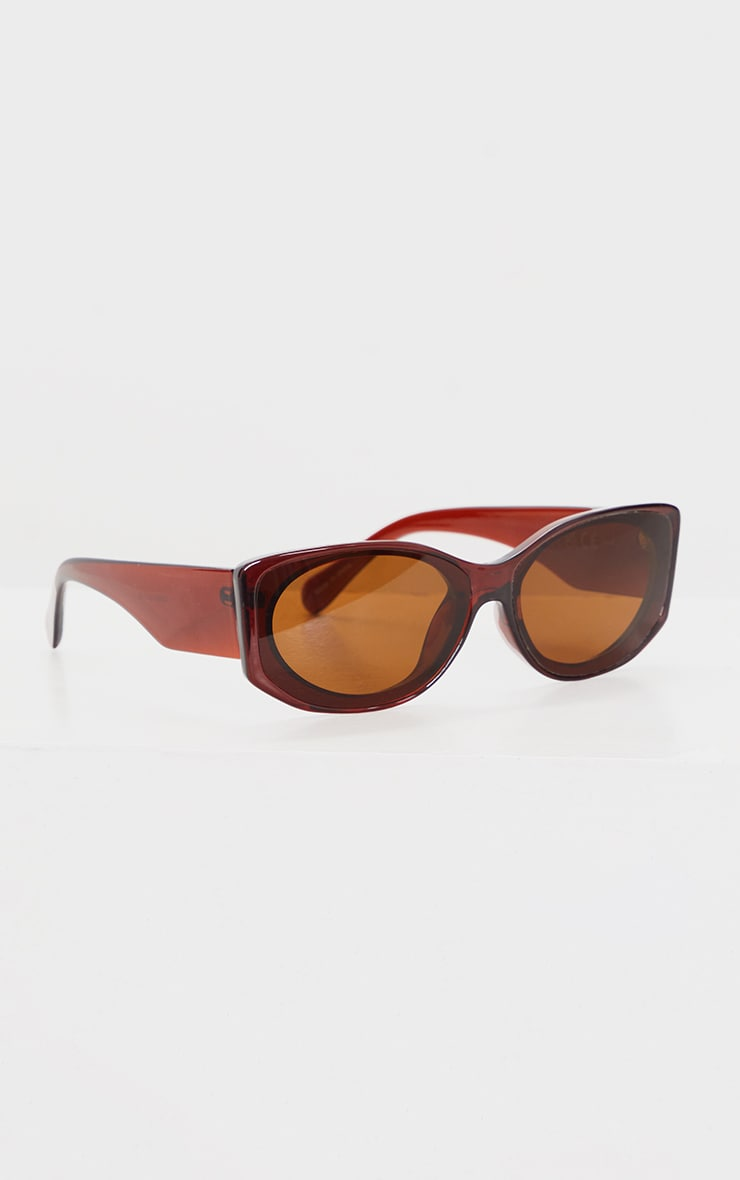 Brown Crystal Two Tone Squareframe Sunglasses 3