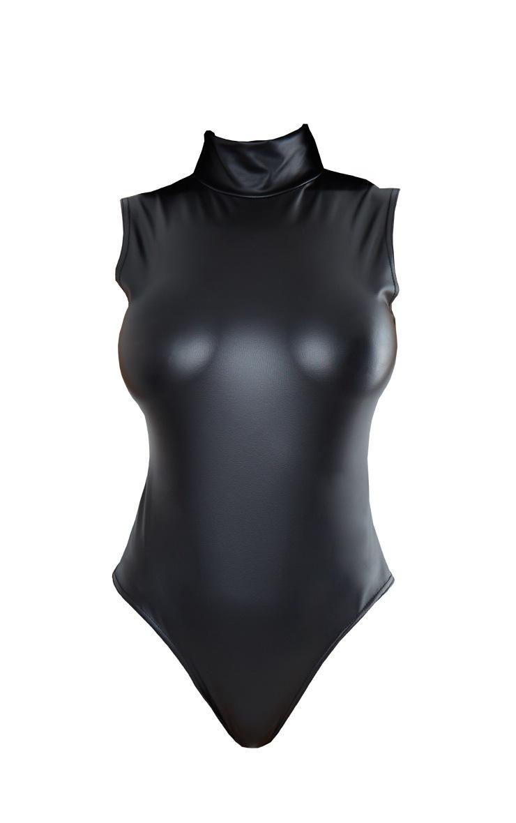Black Wet Look High Neck Bodysuit 5
