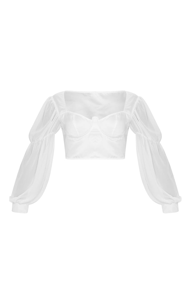 White Satin V-Wire Underbust Sheer Sleeve Cropped Blouse 3