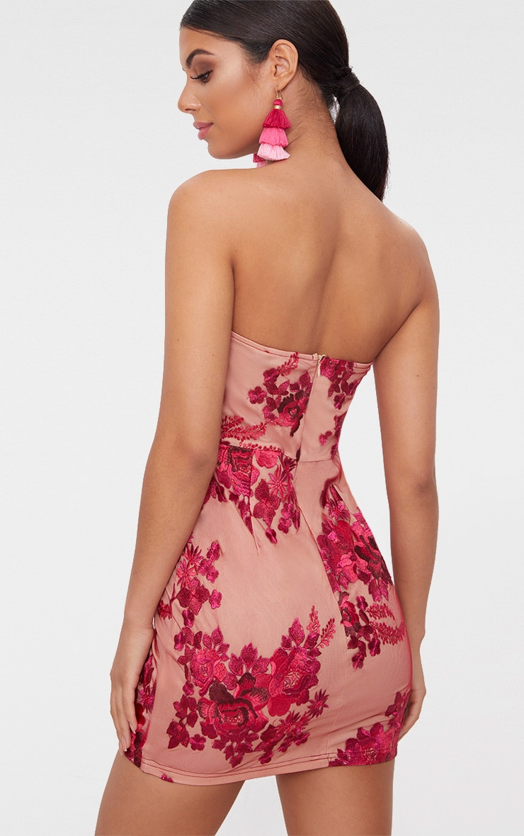 Fuchsia Bandeau Embroidered Lace Bodycon Dress 2