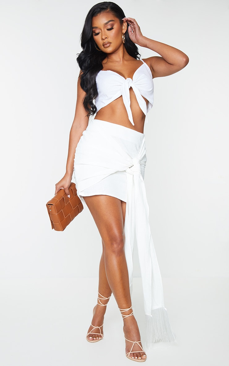 White Linen Feel Ruched Bum Extreme Tie Detail Mini Skirt 4