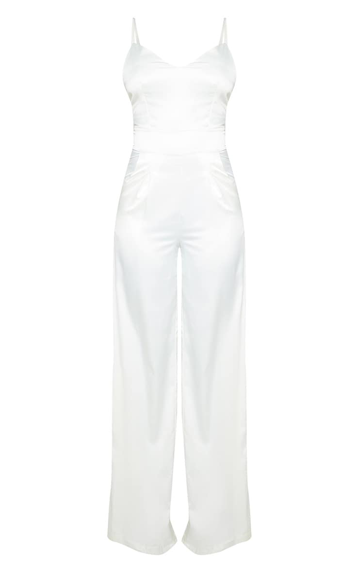 Tall Cream Satin Strappy Jumpsuit 3