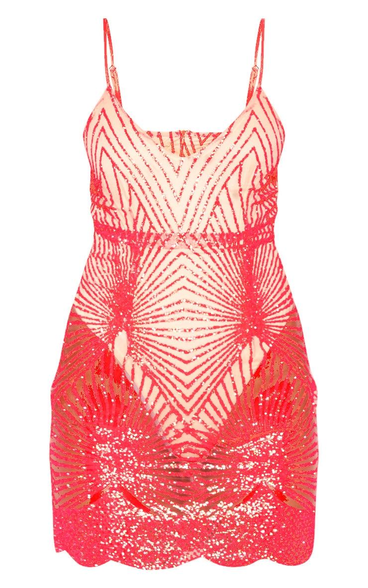 Neon Pink Glitter Diamond Strappy Plunge Bodycon Dress 3