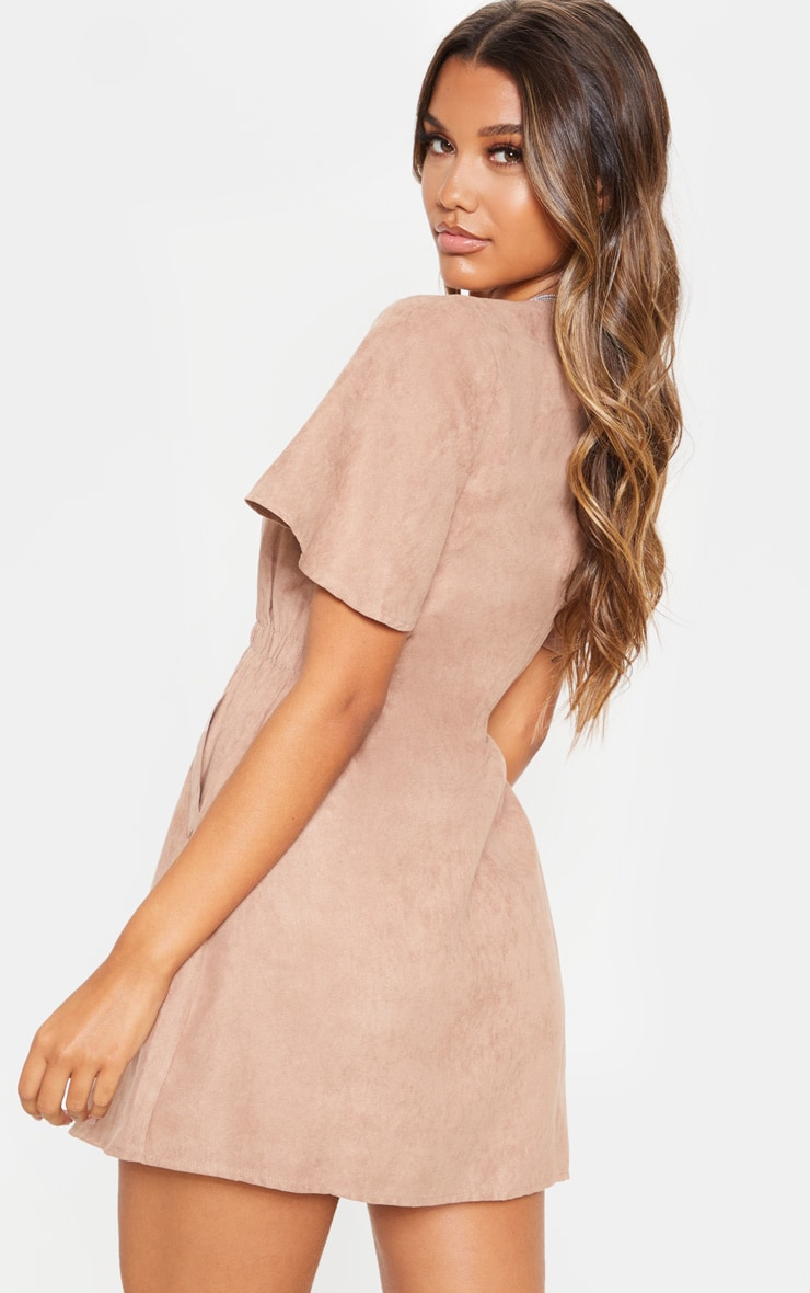 Taupe Faux Suede Button Front Shirred Side Shift Dress 2