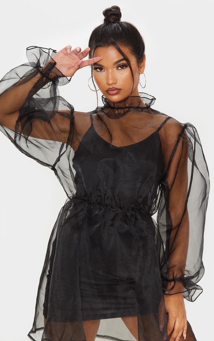 Black Organza Puff Sleeve Smock Dress 5