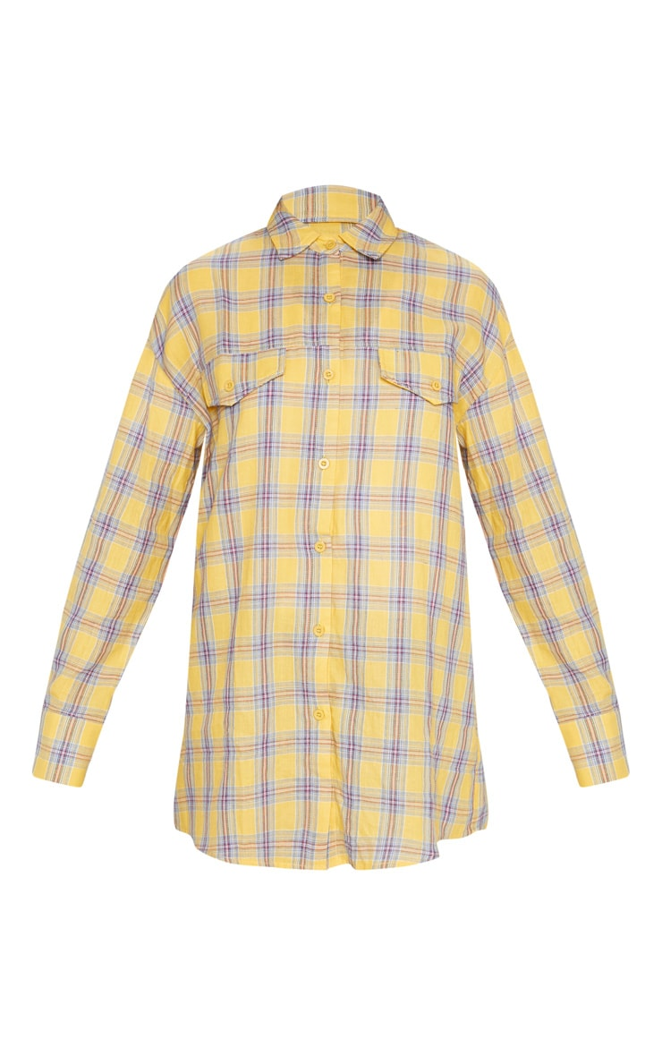 Pale Yellow Check Oversized Shirt 3