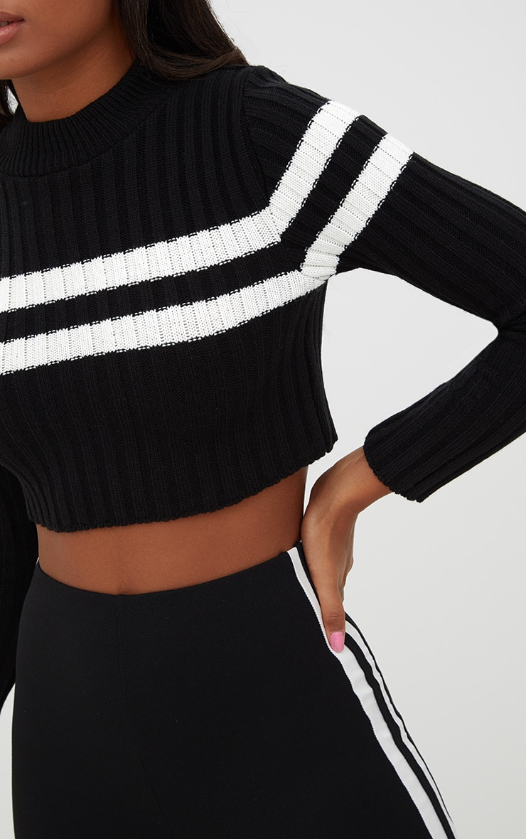 Black Stripe Detail Cropped Knitted Sweater 5