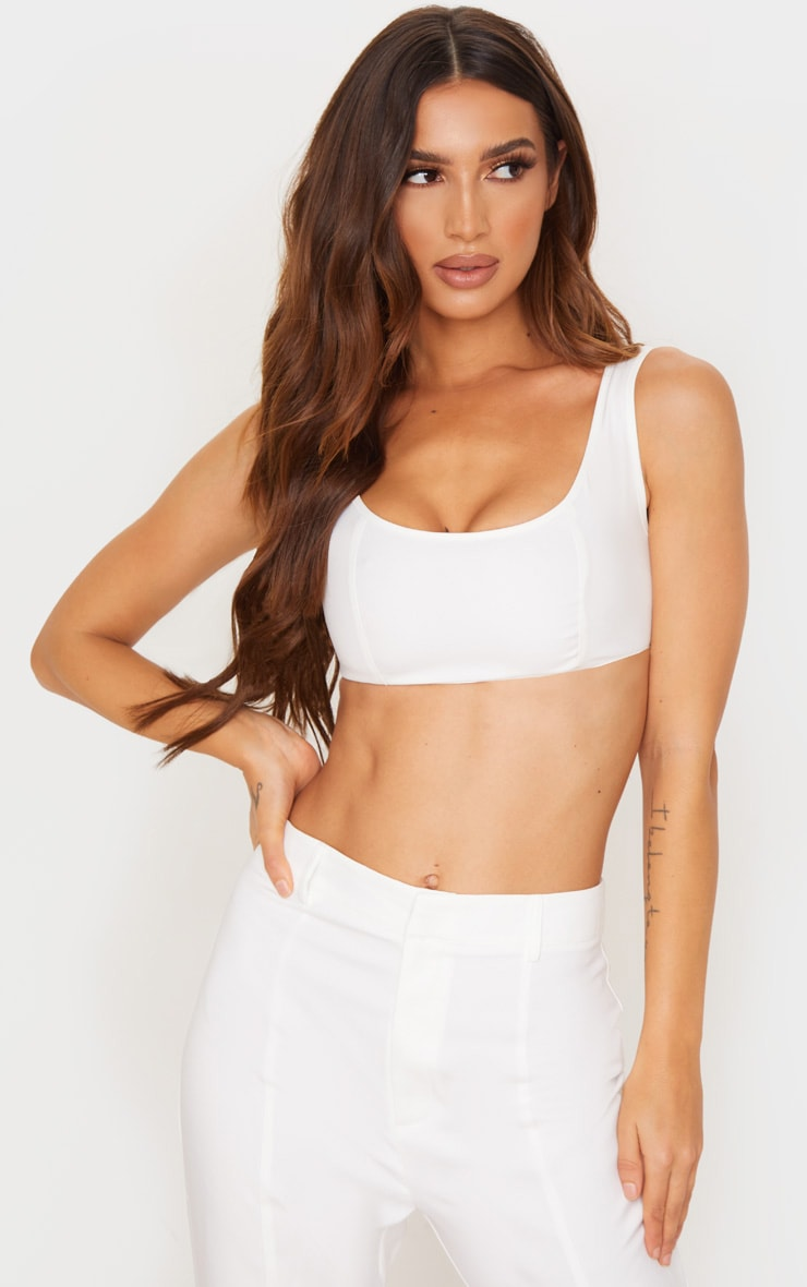 white-woven-seam-front-zip-back-crop-top by prettylittlething