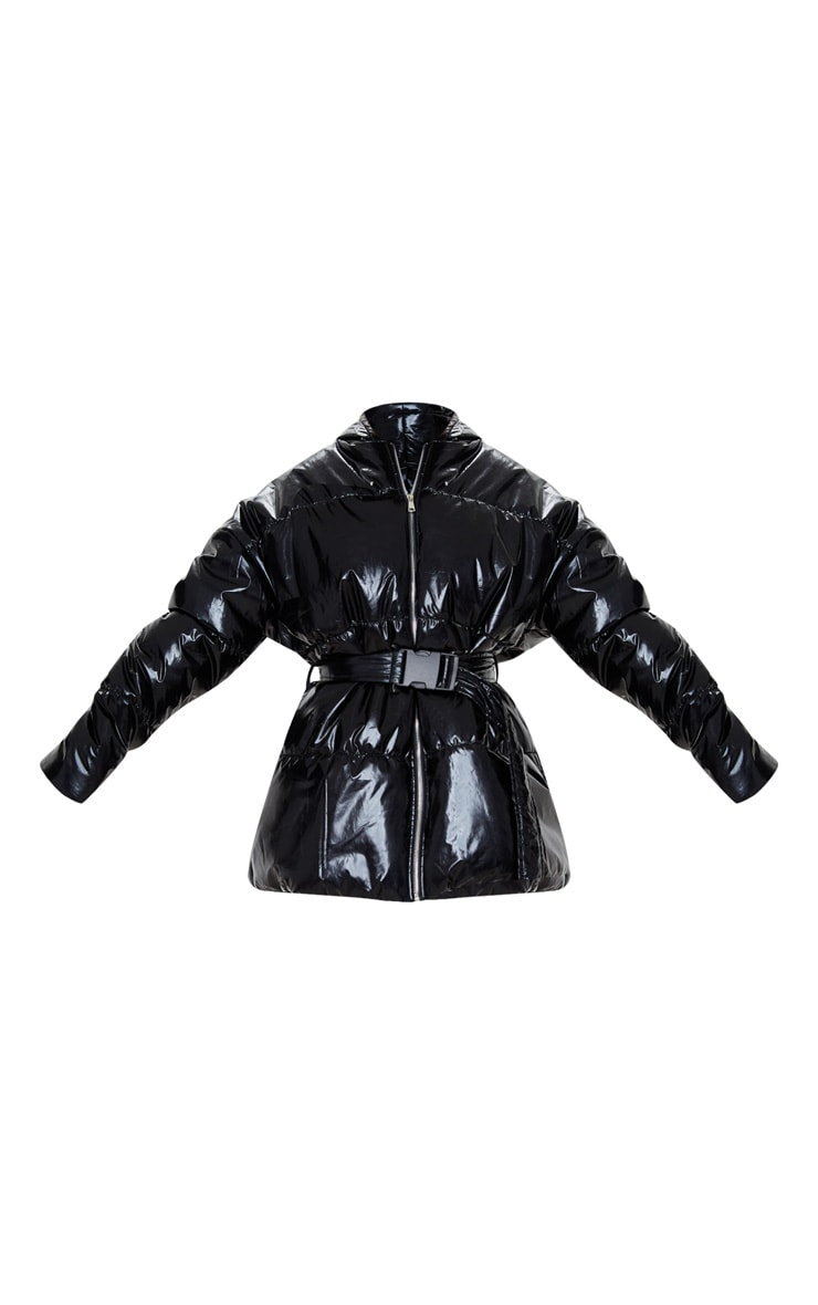 Black High Shine Hooded Midi Belted Puffer Jacket 3