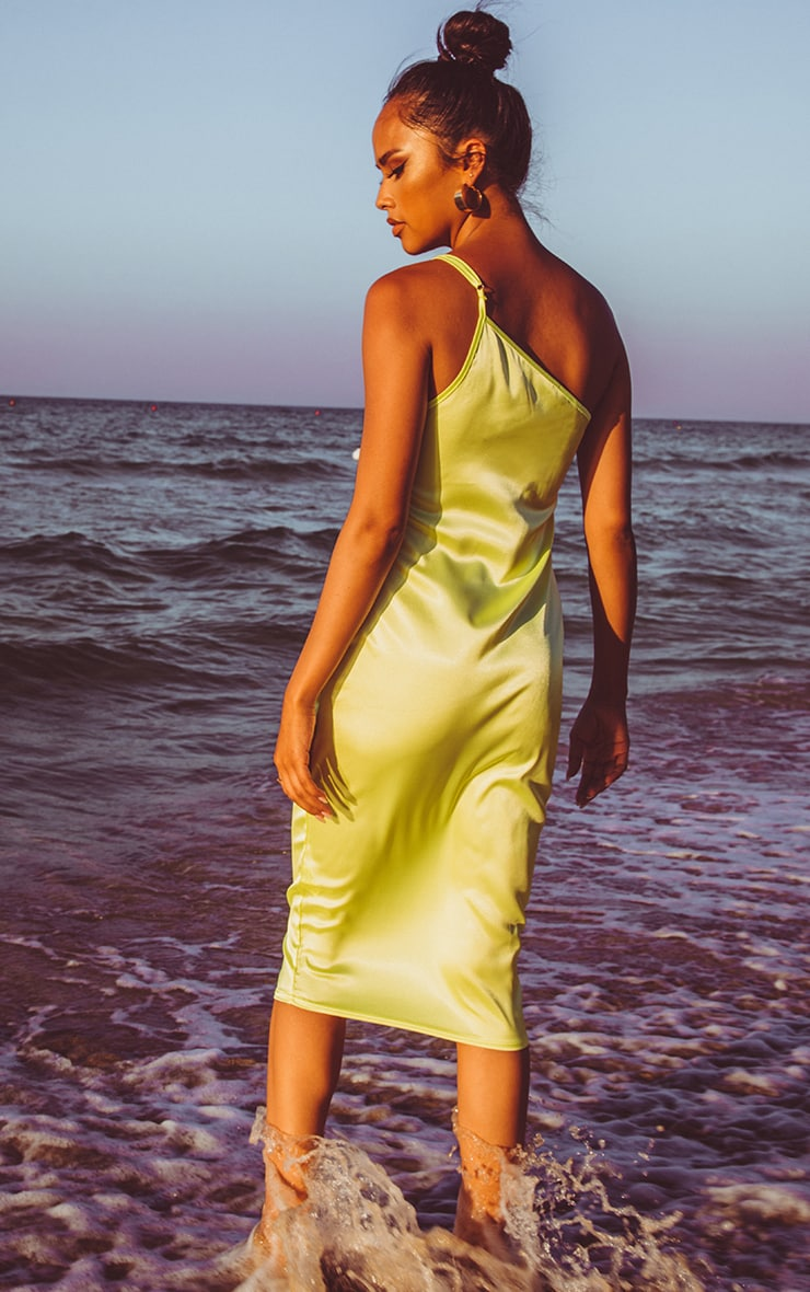 Lime Asymmetric Satin Midi Dress 2