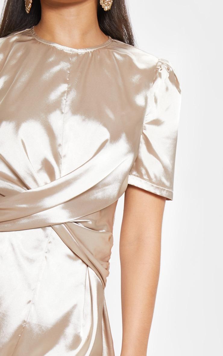 Champagne Satin Twist Detail Short Sleeve Playsuit 5