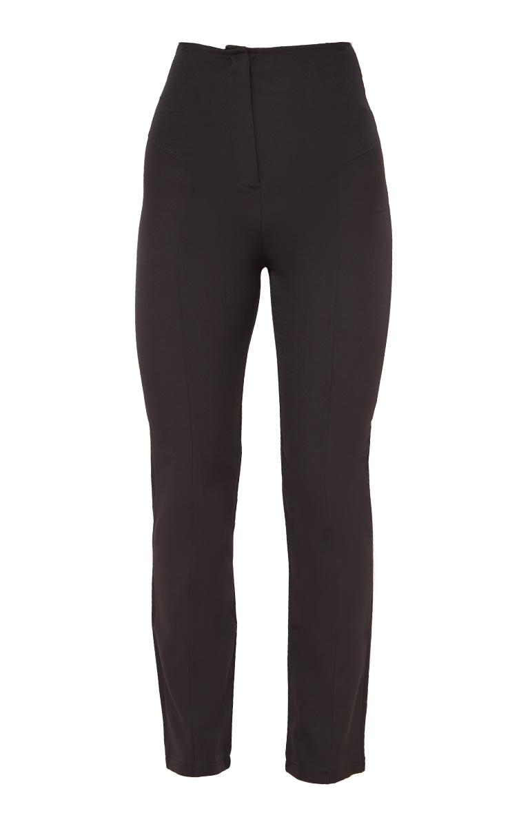 Black High Waisted Seam Detail Straight Leg Pants 5
