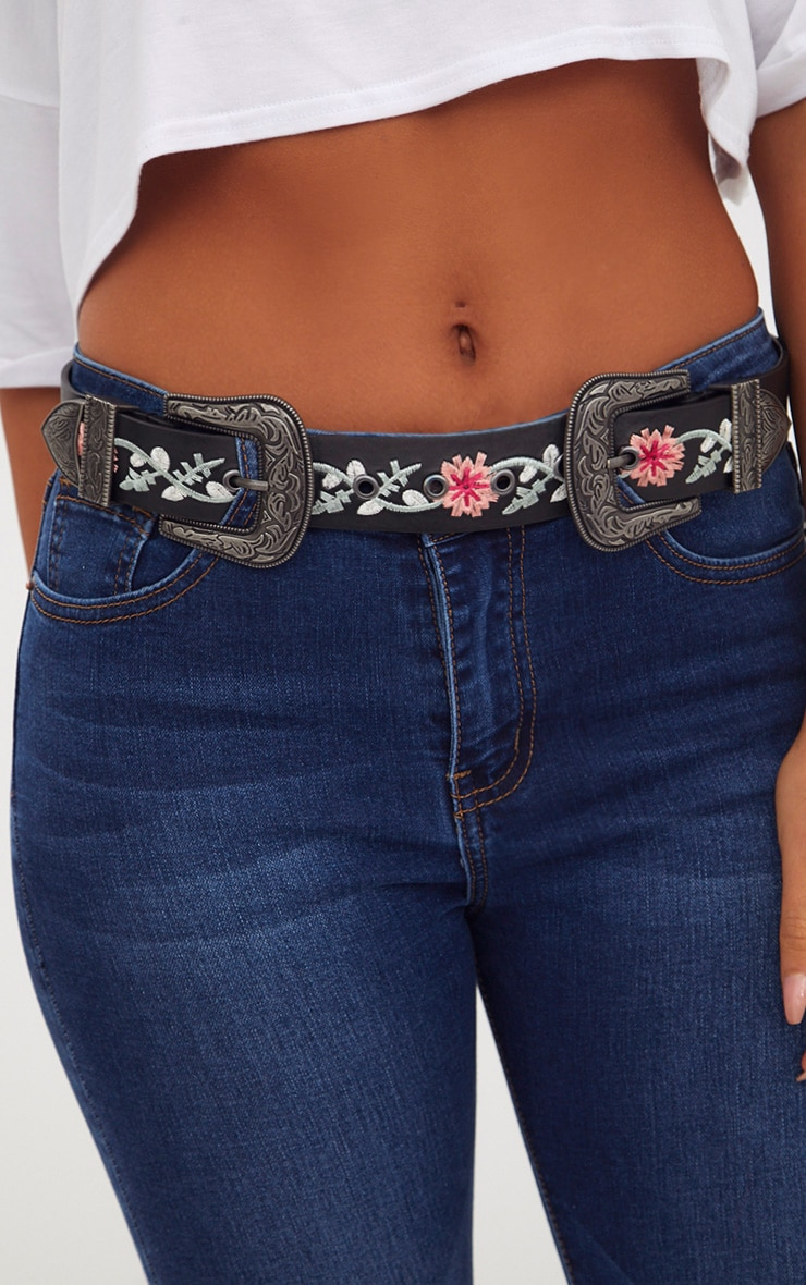 Black Embroidered Western Buckle Belt 3