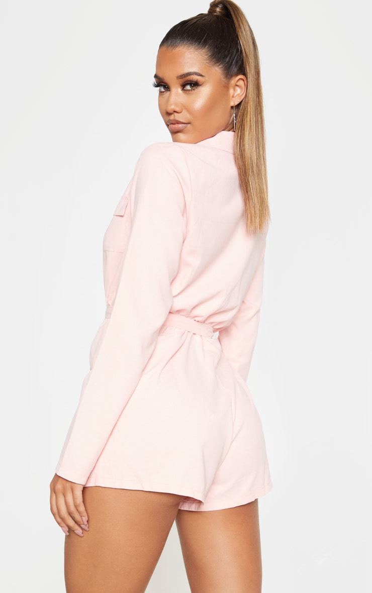 Baby Pink Belt Detail Playsuit 2