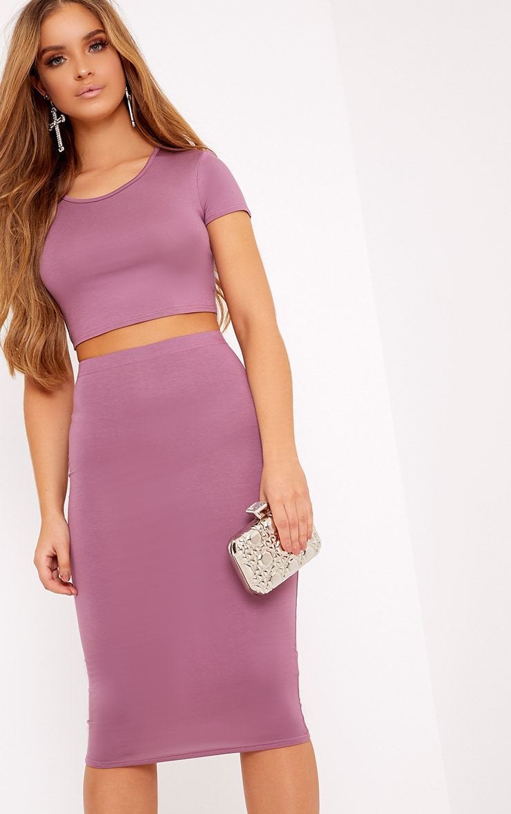 Anaceila Mauve Jersey Top & Midi Skirt Set 1