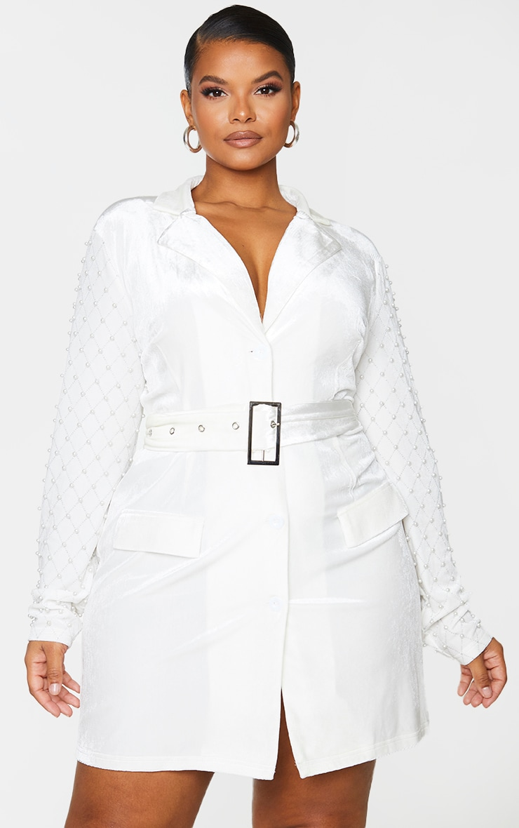 Plus White Velvet Beaded Sleeve Bodycon Dress 3