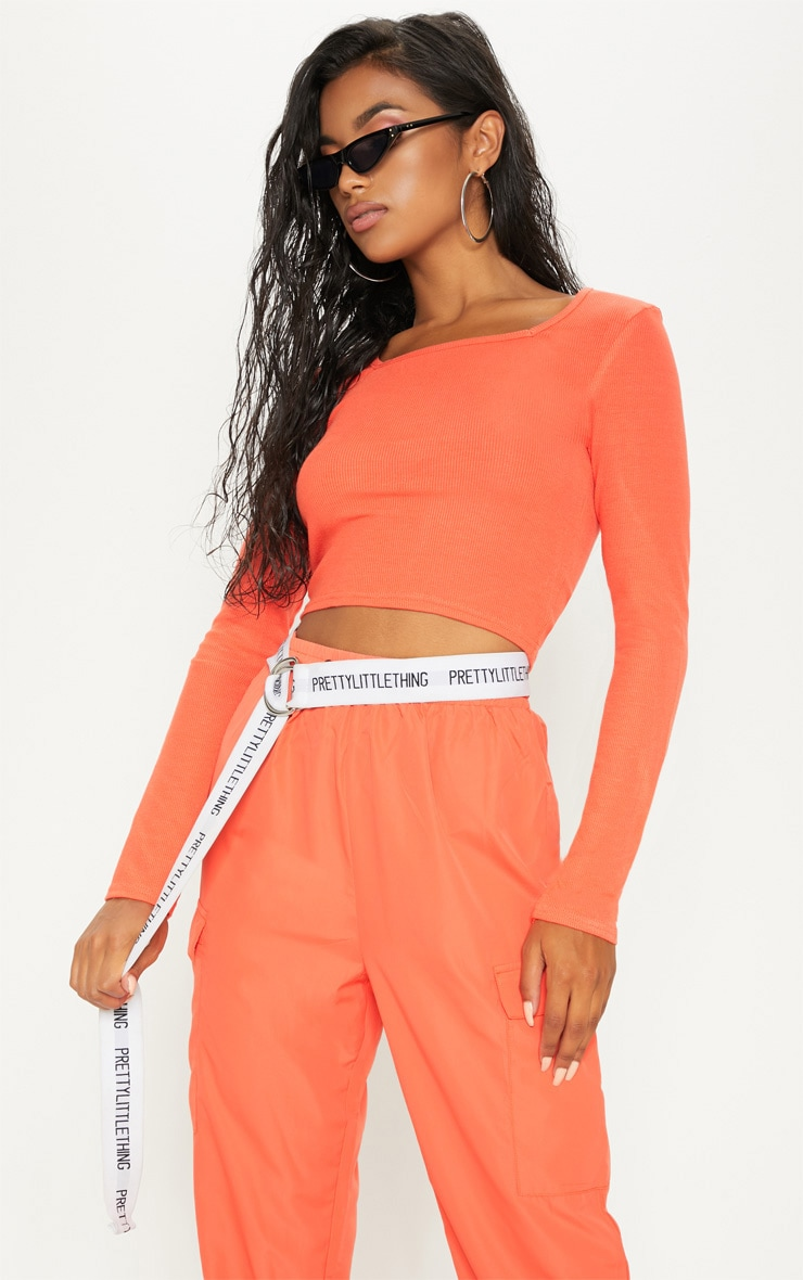 Orange Ribbed Square Neck Crop Top 1