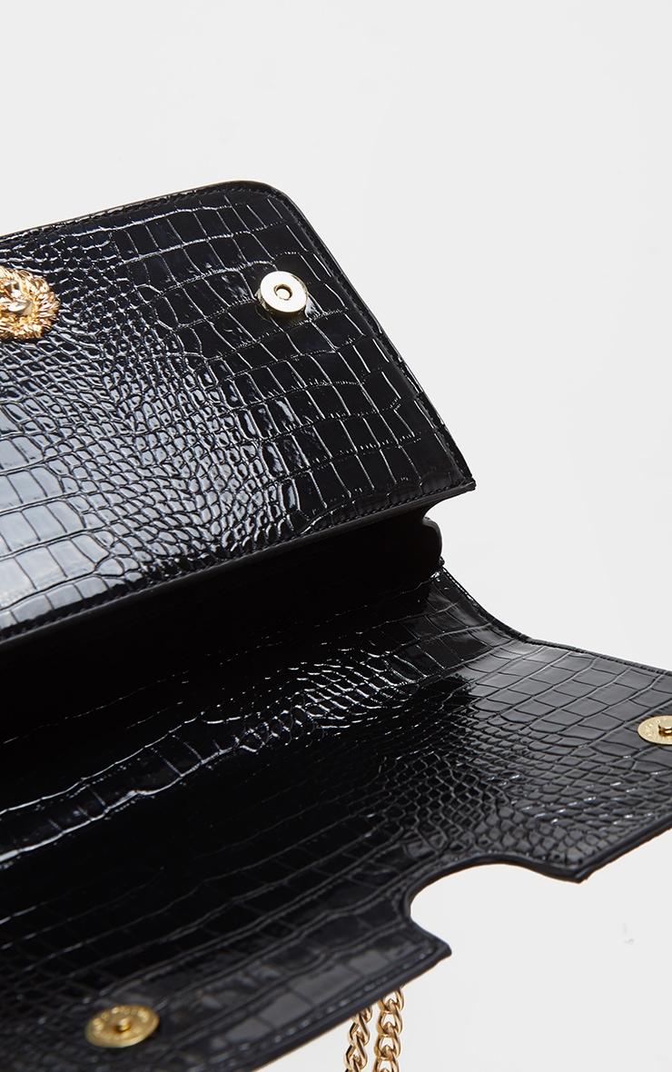 Black Patent And Velvet Contrast Lion Head Cross Body Bag 4