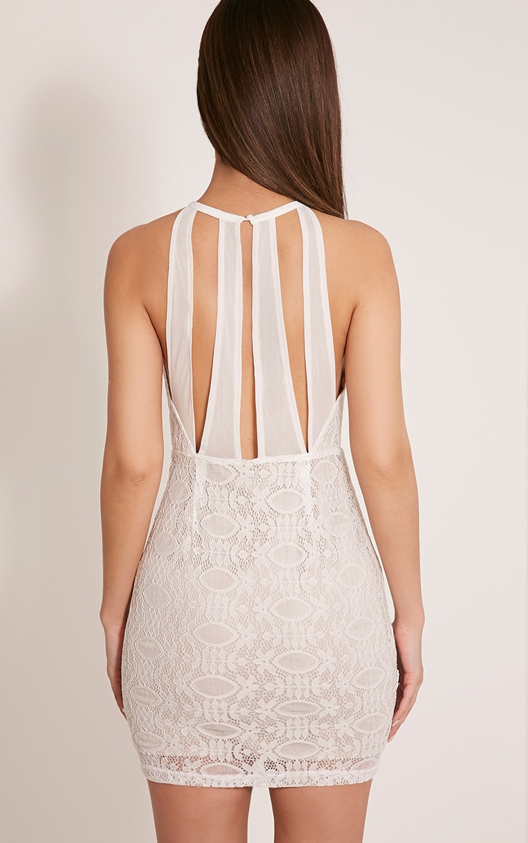 Leana White Keyhole Strappy Back Lace Dress 2