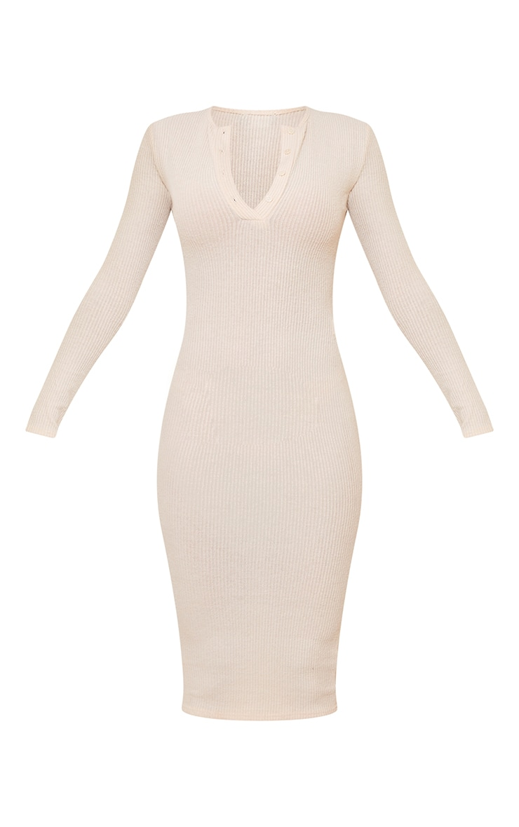 Stone Brushed Rib Button Front Midaxi Dress 5