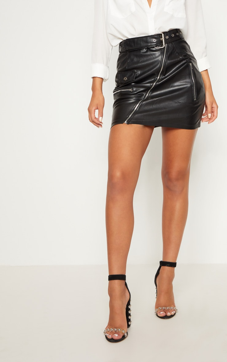 Black Faux Leather Biker Belted Mini Skirt 2