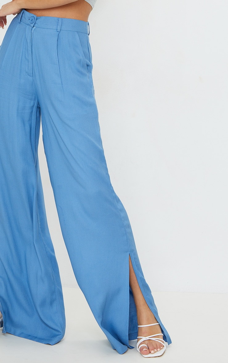 Blue Woven Wide Leg Extreme Split Pants 4