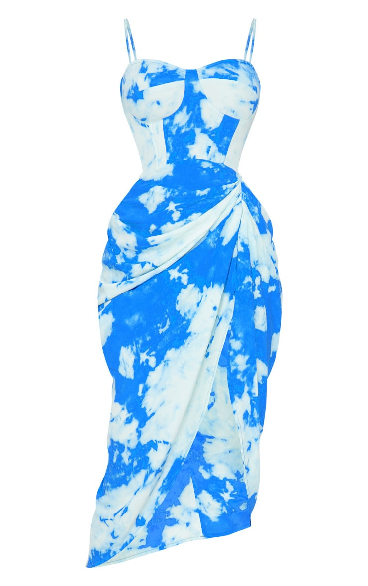 Blue Tie Dye Print Satin Ruched Skirt Corset Detail Midi Dress 5