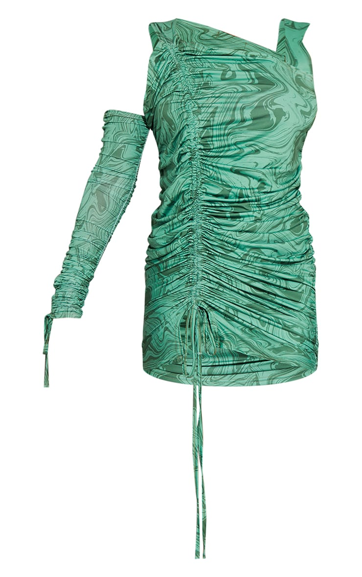 Green Marble Print Slinky Cold Shoulder Detail Ruched Bodycon Dress 5