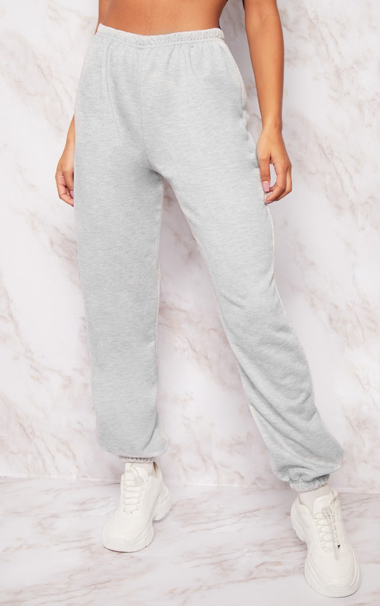 Grey Basic Cuffed Hem Track Pants 2