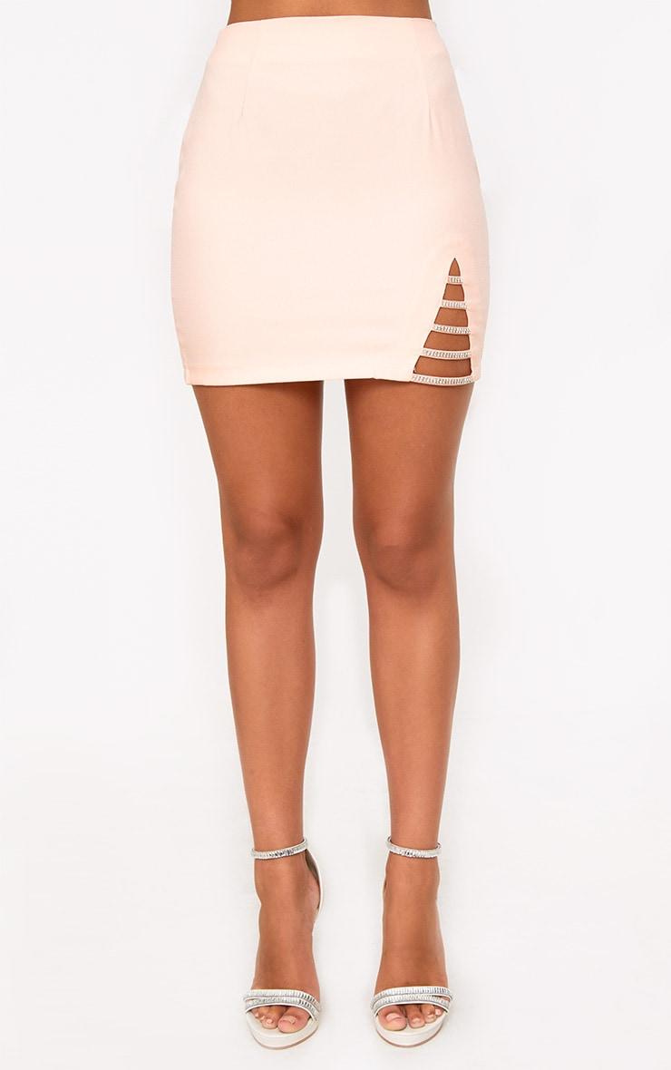 Nude Diamond Split Mini Skirt 2