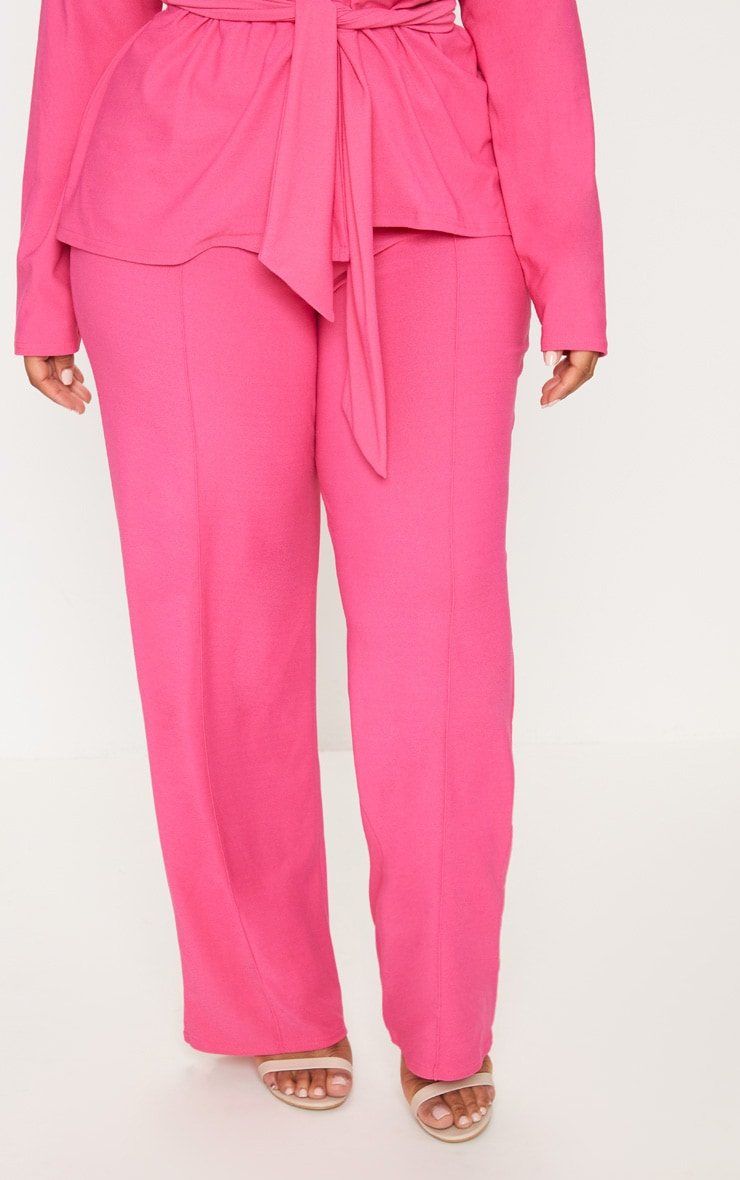 Plus Hot Pink High Waisted Wide Leg Trousers 2