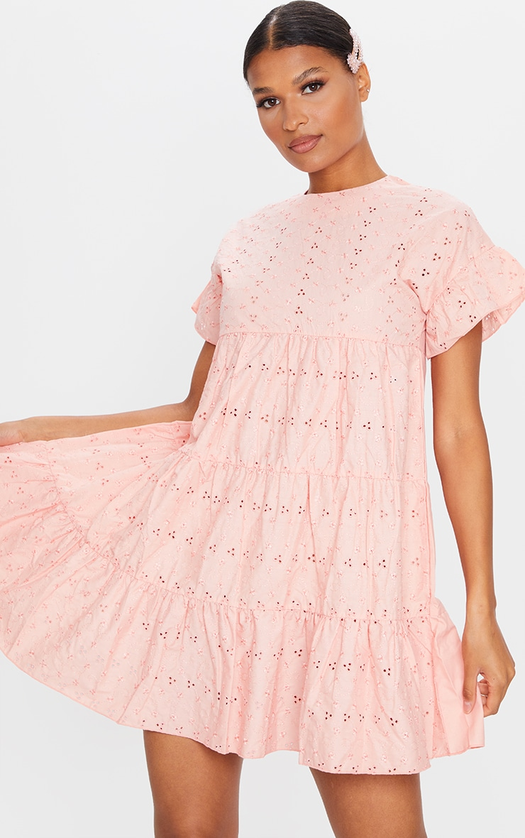 Peach Broderie Anglaise Smock Dress 1