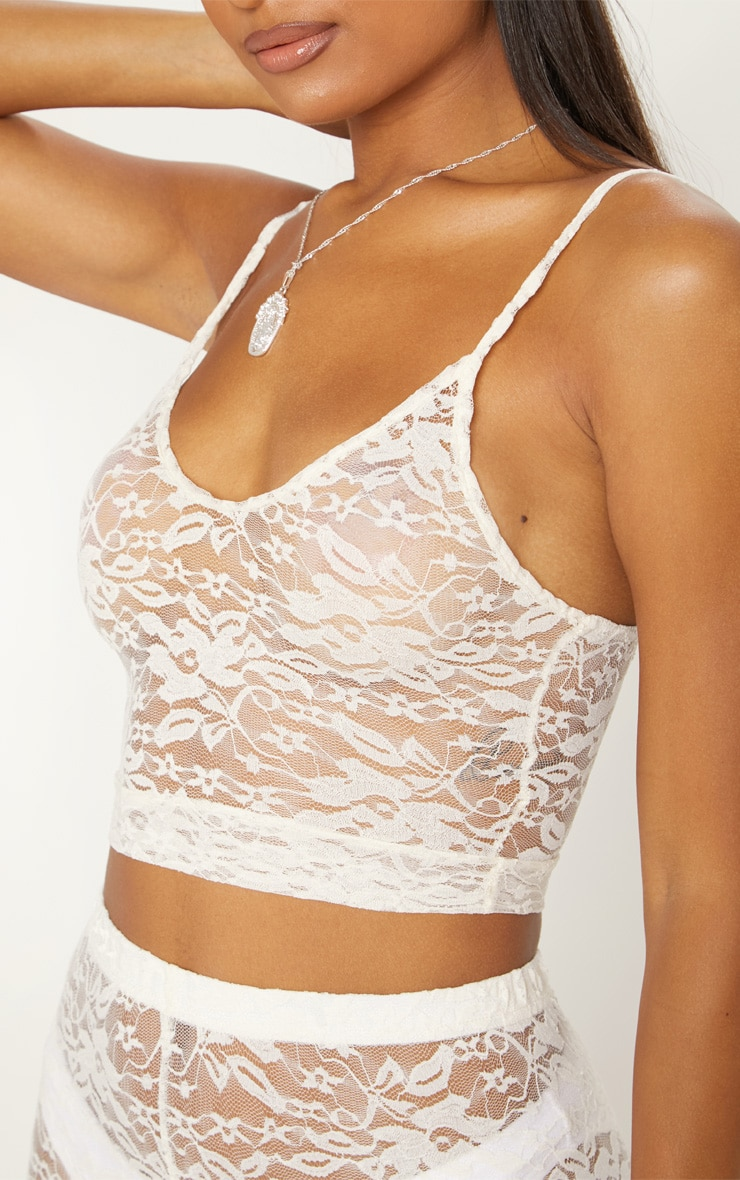 White Lace Scoop Neck Strappy Crop Top 5