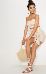 c9406860d0 Nude Gingham Jersey Square Neck Bralet image 4