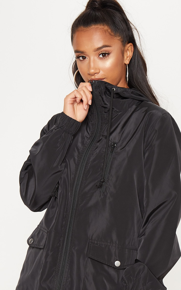 Petite Black Hooded Rain Coat  5